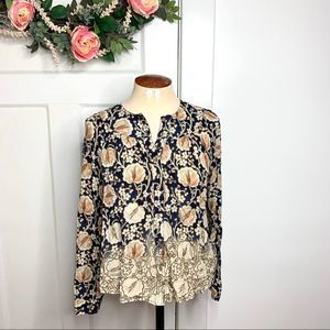 Maeve Anthropologie Button Down Ombré Pattern Top